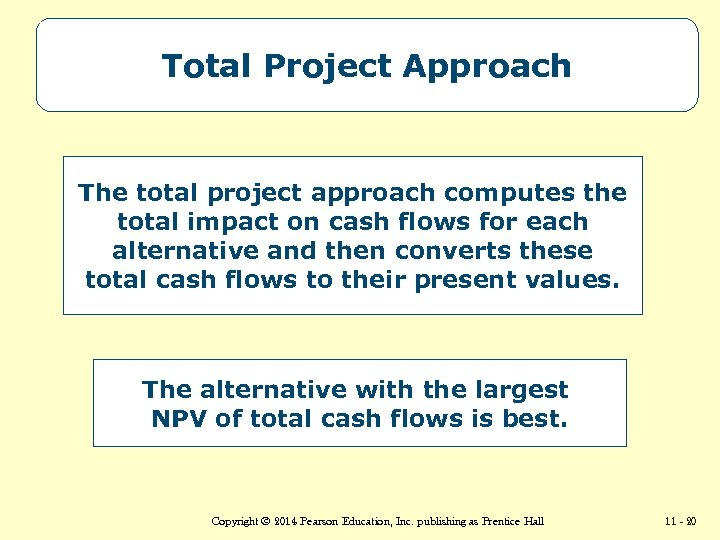 Total Project Approach The total project approach computes the total impact on cash flows
