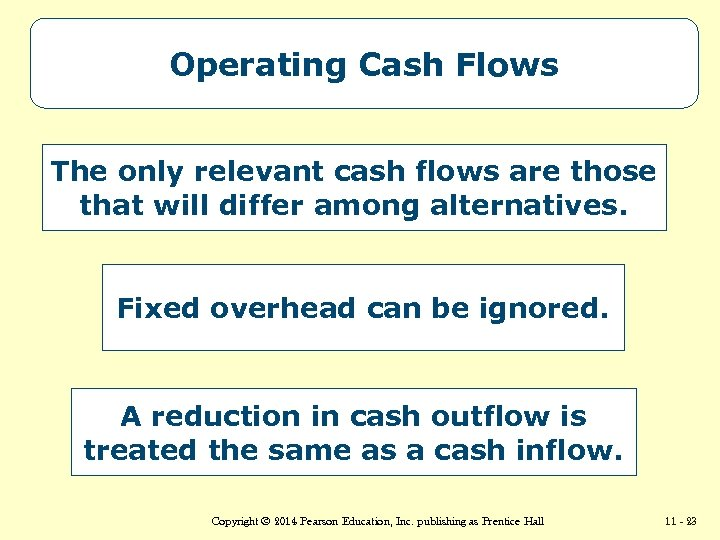 Operating Cash Flows The only relevant cash flows are those that will differ among