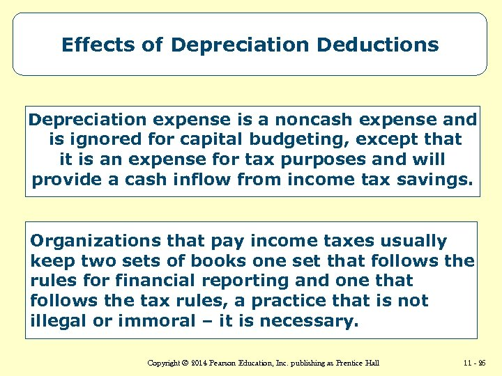 Effects of Depreciation Deductions Depreciation expense is a noncash expense and is ignored for