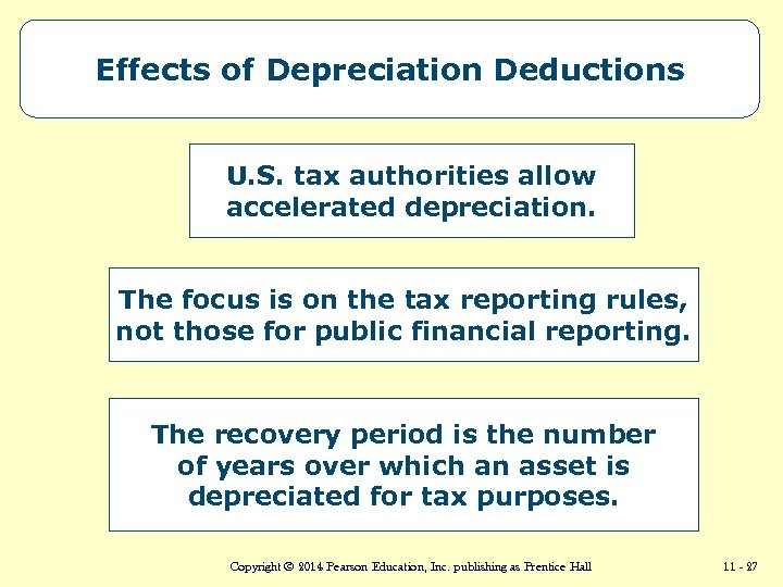 Effects of Depreciation Deductions U. S. tax authorities allow accelerated depreciation. The focus is
