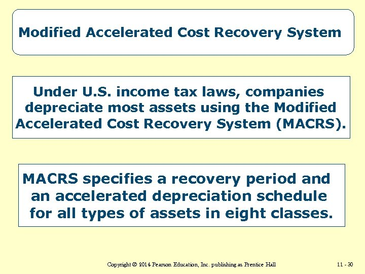 Modified Accelerated Cost Recovery System Under U. S. income tax laws, companies depreciate most