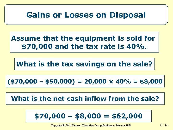 Gains or Losses on Disposal Assume that the equipment is sold for $70, 000