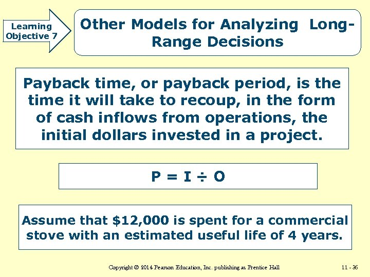 Learning Objective 7 Other Models for Analyzing Long. Range Decisions Payback time, or payback