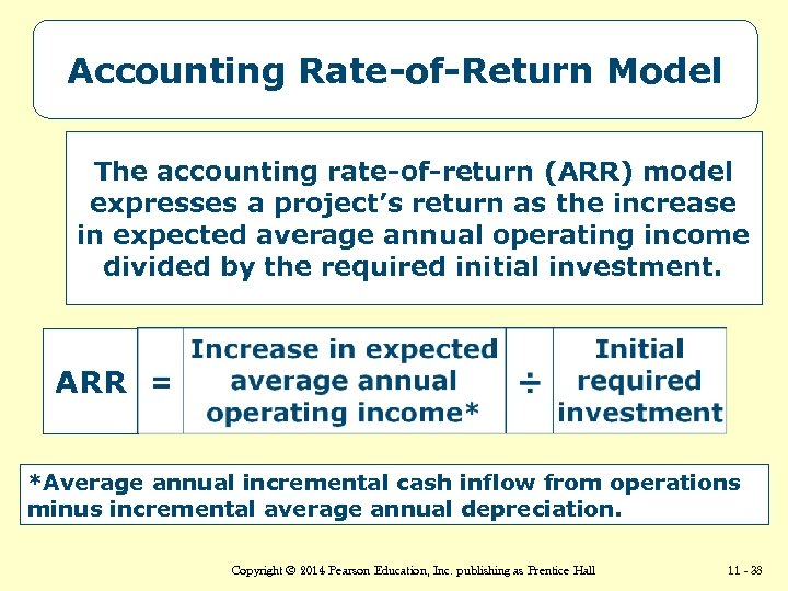 Accounting Rate-of-Return Model The accounting rate-of-return (ARR) model expresses a project's return as the