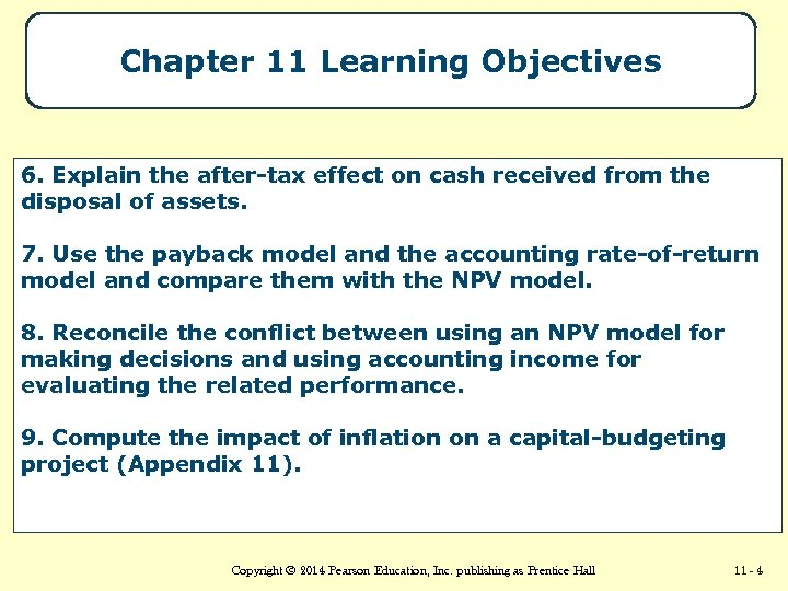 Chapter 11 Learning Objectives 6. Explain the after-tax effect on cash received from the
