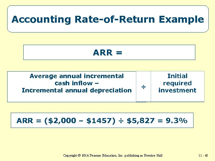 Accounting Rate-of-Return Example ARR = Average annual incremental cash inflow – Incremental annual depreciation