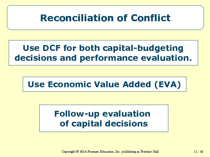 Reconciliation of Conflict Use DCF for both capital-budgeting decisions and performance evaluation. Use Economic