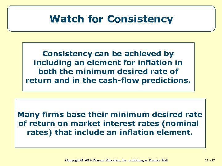 Watch for Consistency can be achieved by including an element for inflation in both