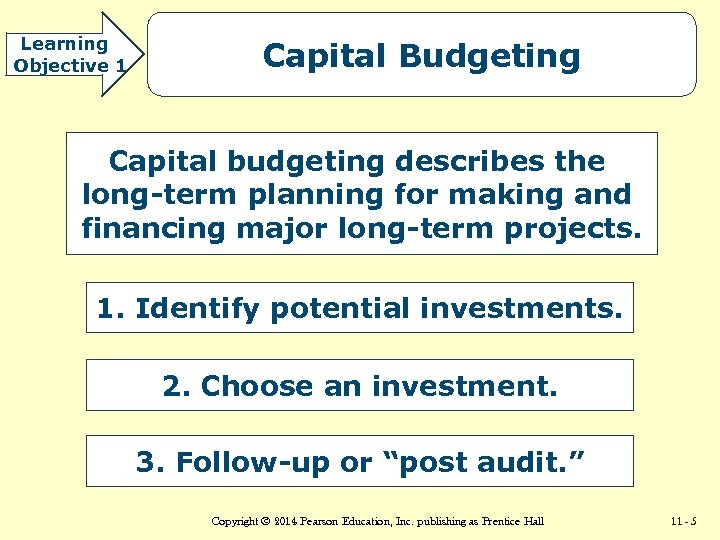 Learning Objective 1 Capital Budgeting Capital budgeting describes the long-term planning for making and