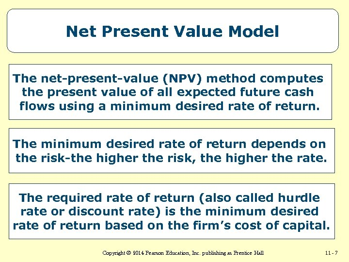 Net Present Value Model The net-present-value (NPV) method computes the present value of all