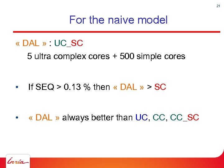 21 For the naive model « DAL » : UC_SC 5 ultra complex cores