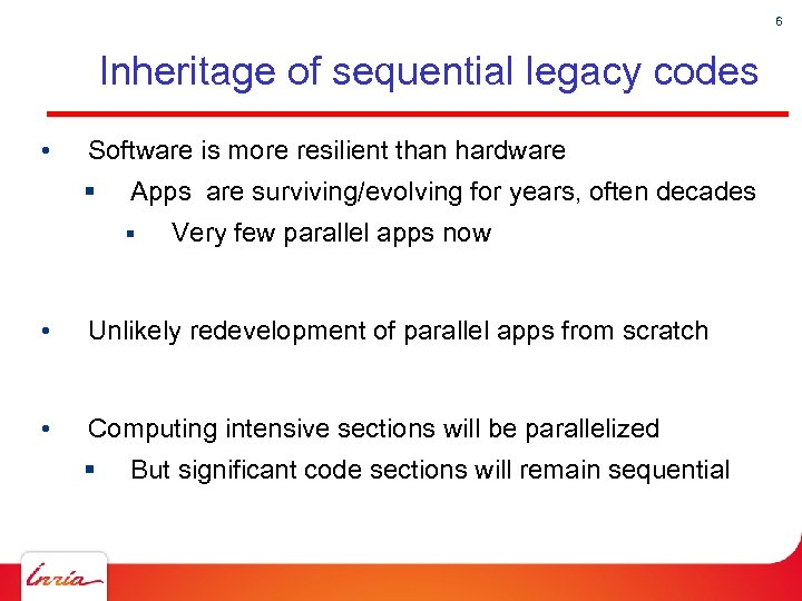 6 Inheritage of sequential legacy codes • Software is more resilient than hardware §