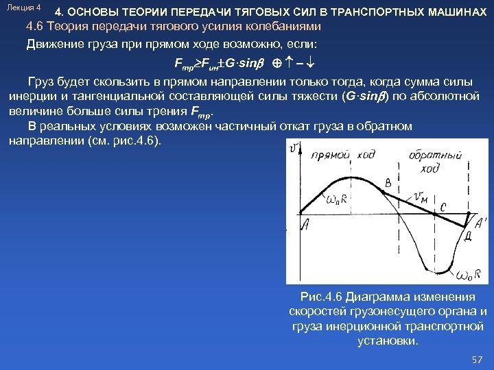 Лекция 4 4. ОСНОВЫ ТЕОРИИ ПЕРЕДАЧИ ТЯГОВЫХ СИЛ В ТРАНСПОРТНЫХ МАШИНАХ 4. 6 Теория