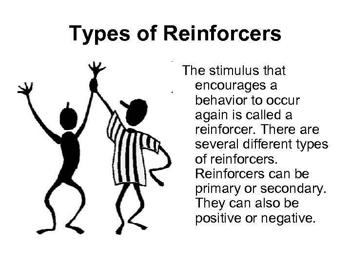 Types of Reinforcers The stimulus that encourages a behavior to occur again is called