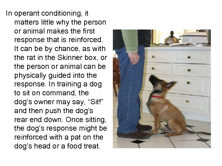 In operant conditioning, it matters little why the person or animal makes the first