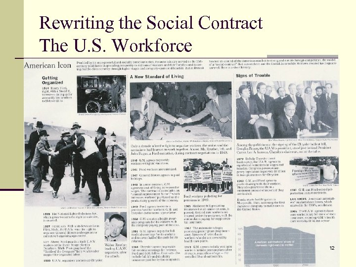 Rewriting the Social Contract The U. S. Workforce 12