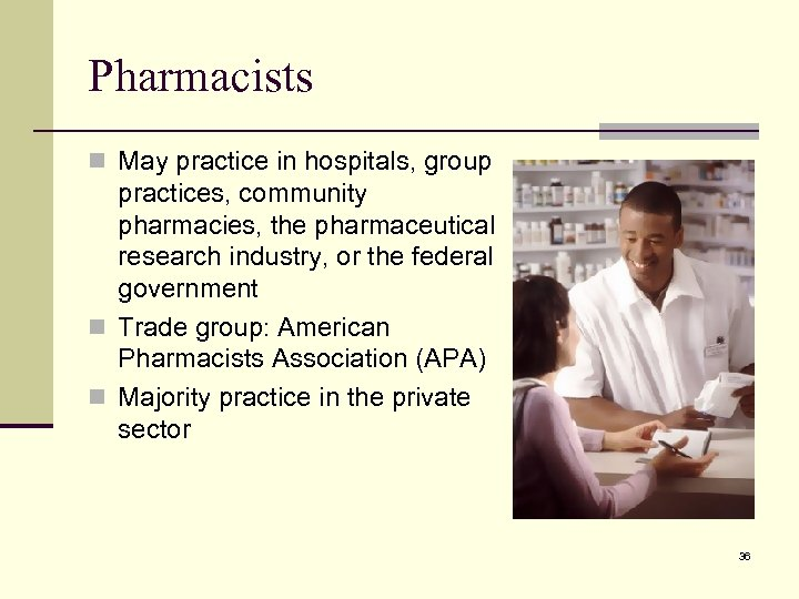 Pharmacists n May practice in hospitals, group practices, community pharmacies, the pharmaceutical research industry,