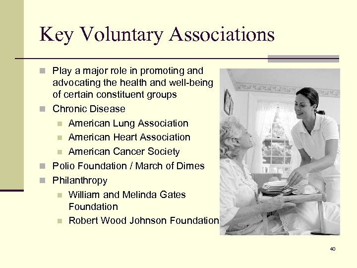 Key Voluntary Associations n Play a major role in promoting and advocating the health