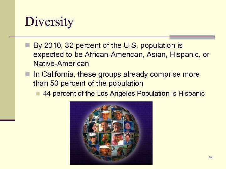 Diversity n By 2010, 32 percent of the U. S. population is expected to