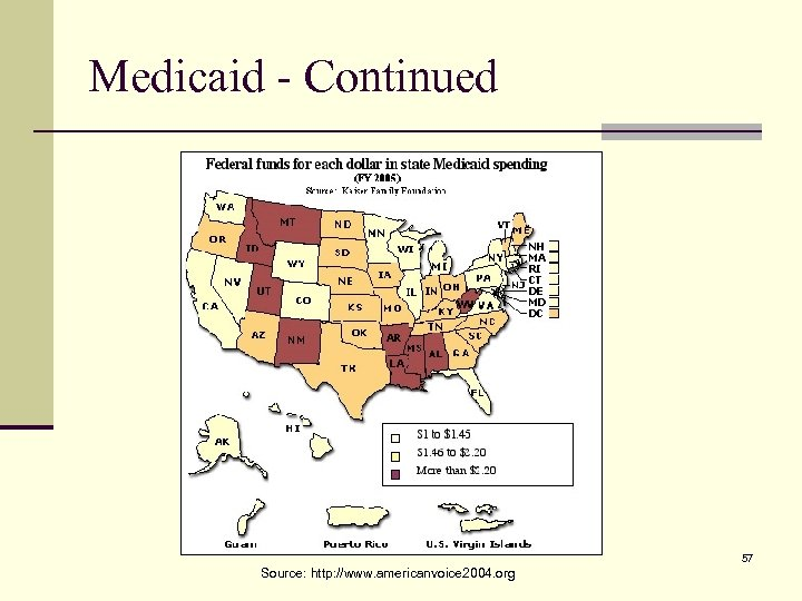Medicaid - Continued 57 Source: http: //www. americanvoice 2004. org
