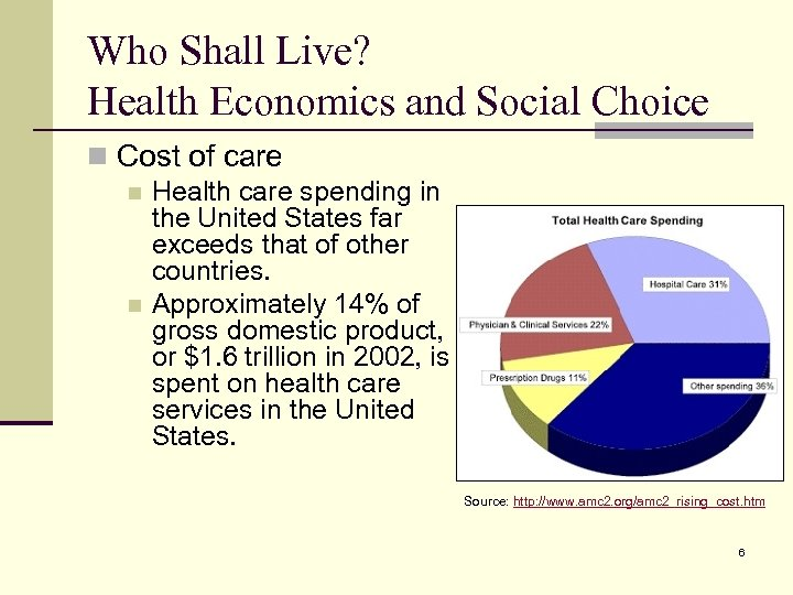 Who Shall Live? Health Economics and Social Choice n Cost of care n Health