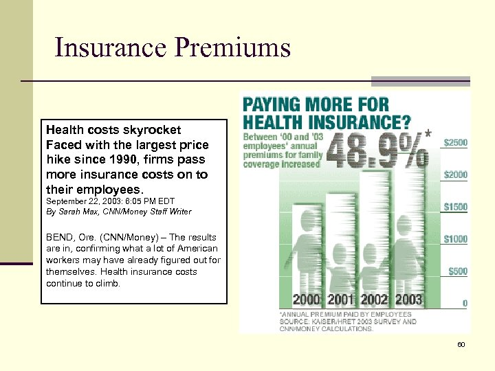 Insurance Premiums Health costs skyrocket Faced with the largest price hike since 1990, firms