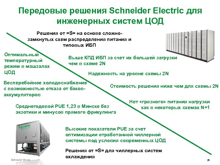 Передовые решения Schneider Electric для инженерных систем ЦОД Решения от =S= на основе сложнозамкнутых