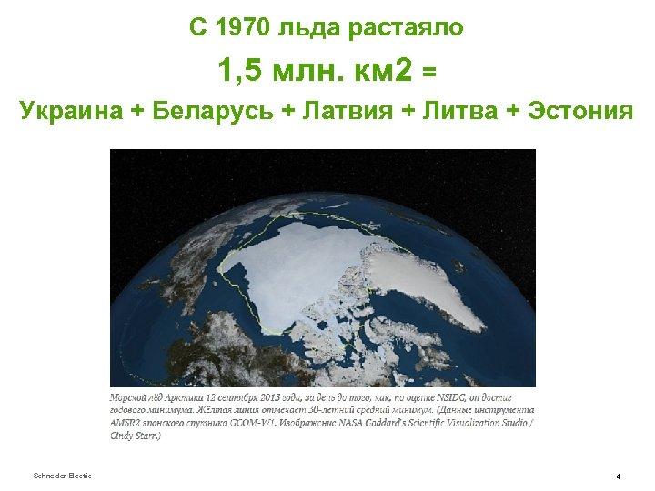 C 1970 льда растаяло 1, 5 млн. км 2 = Украина + Беларусь +