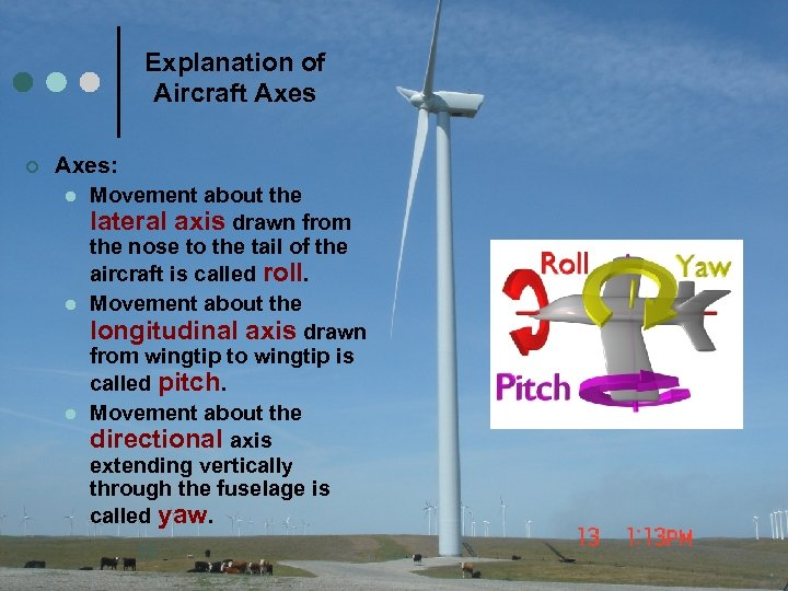 Explanation of Aircraft Axes ¢ Axes: l Movement about the lateral axis drawn from