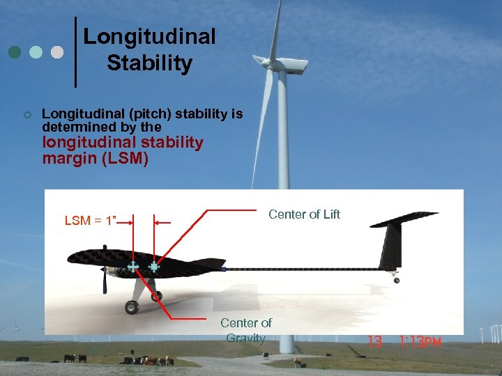 Longitudinal Stability ¢ Longitudinal (pitch) stability is determined by the longitudinal stability margin (LSM)