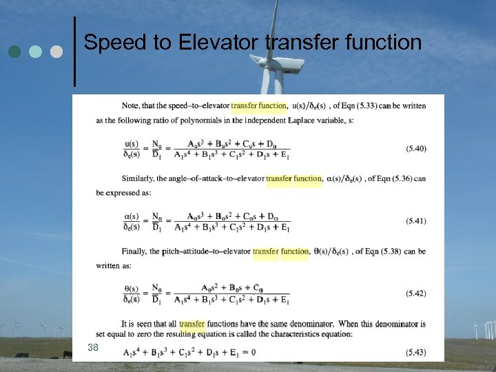 Speed to Elevator transfer function 38