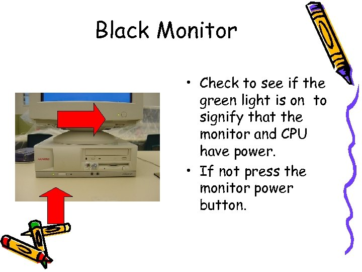 Black Monitor • Check to see if the green light is on to signify