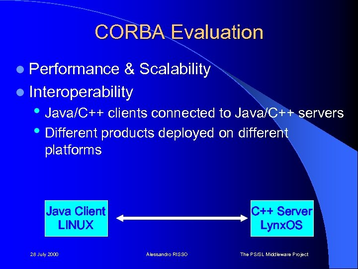 CORBA Evaluation l Performance & Scalability l Interoperability • Java/C++ clients connected to Java/C++
