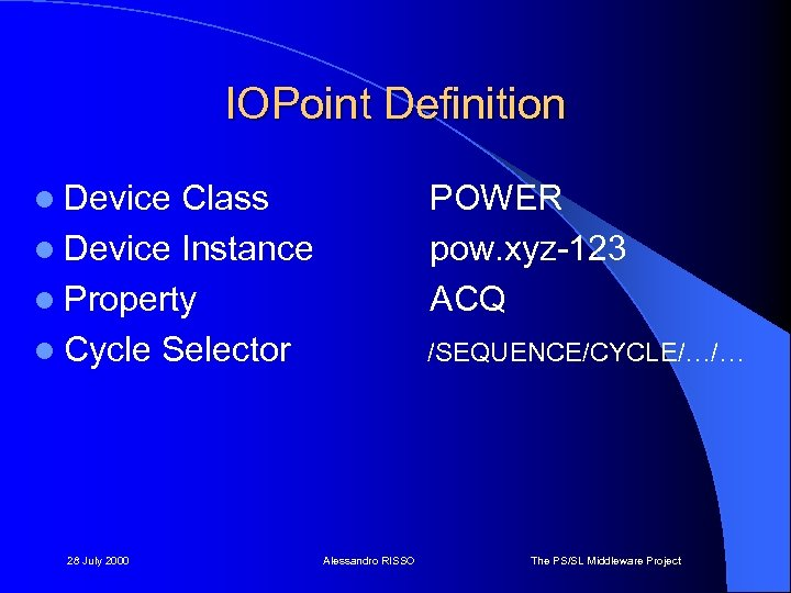 IOPoint Definition l Device Class l Device Instance l Property l Cycle Selector 28
