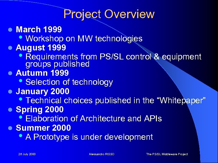 Project Overview l l l March 1999 • Workshop on MW technologies August 1999