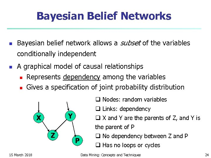 Bayesian Belief Networks n Bayesian belief network allows a subset of the variables conditionally