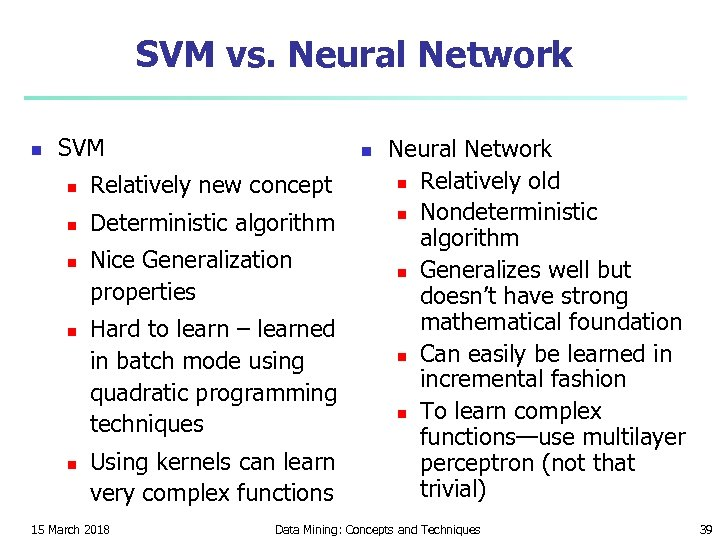 SVM vs. Neural Network n SVM n n Relatively new concept n Deterministic algorithm