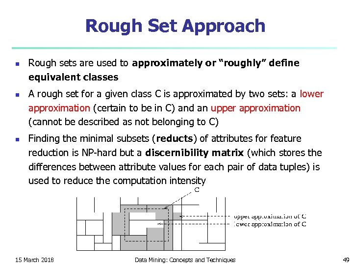 "Rough Set Approach n n n Rough sets are used to approximately or ""roughly"""
