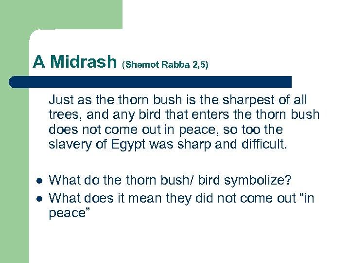 A Midrash (Shemot Rabba 2, 5) Just as the thorn bush is the sharpest