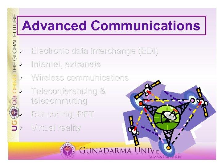 Advanced Communications ü Electronic data interchange (EDI) ü Internet, extranets ü Wireless communications ü
