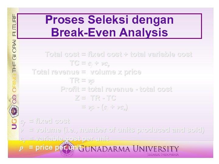 Proses Seleksi dengan Break-Even Analysis Total cost = fixed cost + total variable cost