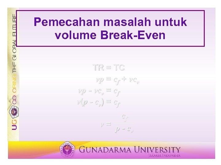 Pemecahan masalah untuk volume Break-Even TR = TC vp = cf + vcv vp