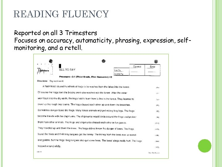 READING FLUENCY Reported on all 3 Trimesters Focuses on accuracy, automaticity, phrasing, expression, selfmonitoring,