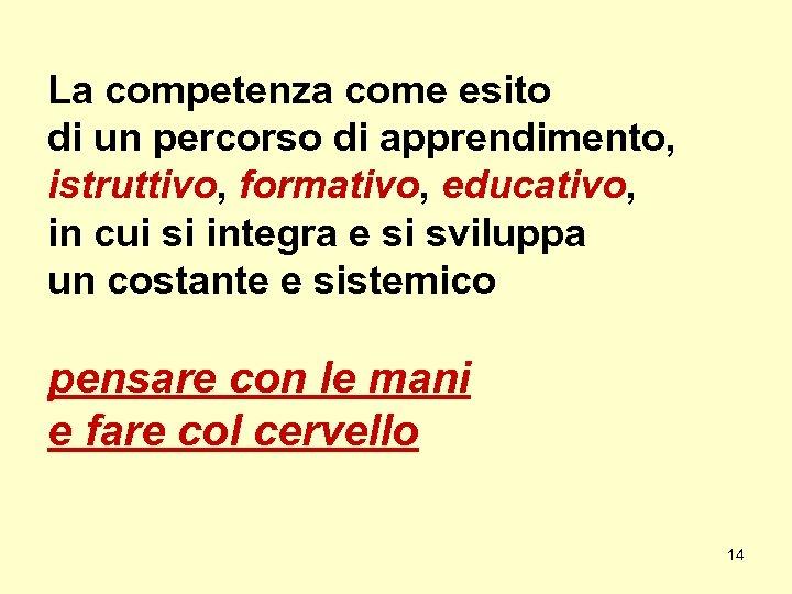 La competenza come esito di un percorso di apprendimento, istruttivo, formativo, educativo, in cui