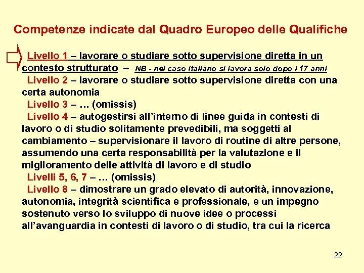 Competenze indicate dal Quadro Europeo delle Qualifiche Livello 1 – lavorare o studiare sotto