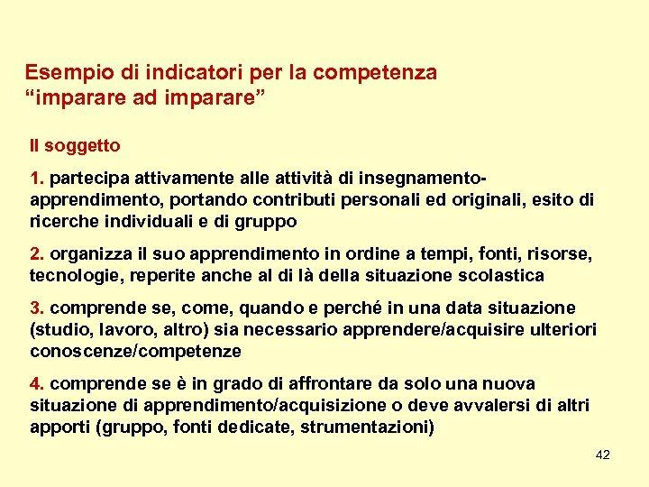 """Esempio di indicatori per la competenza """"imparare ad imparare"""" Il soggetto 1. partecipa attivamente"""
