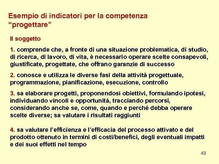 """Esempio di indicatori per la competenza """"progettare"""" Il soggetto 1. comprende che, a fronte"""