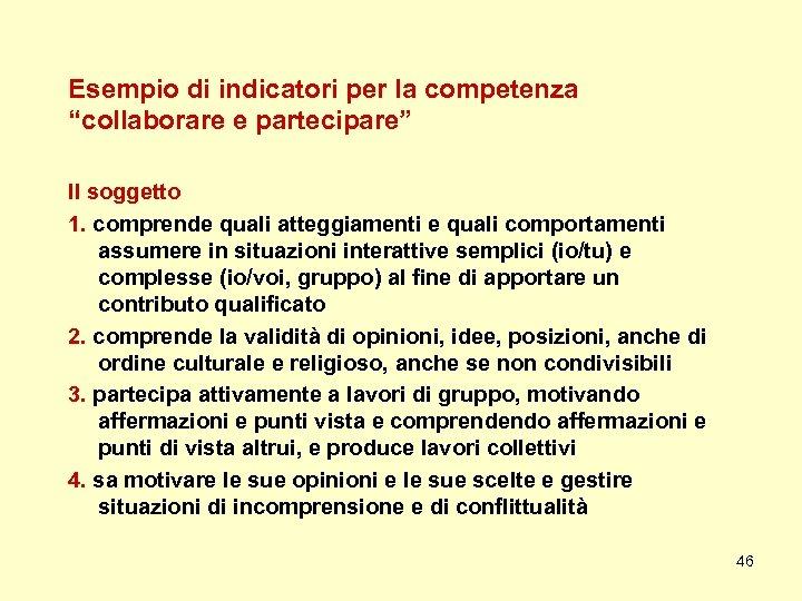 """Esempio di indicatori per la competenza """"collaborare e partecipare"""" Il soggetto 1. comprende quali"""