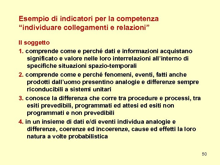 """Esempio di indicatori per la competenza """"individuare collegamenti e relazioni"""" Il soggetto 1. comprende"""