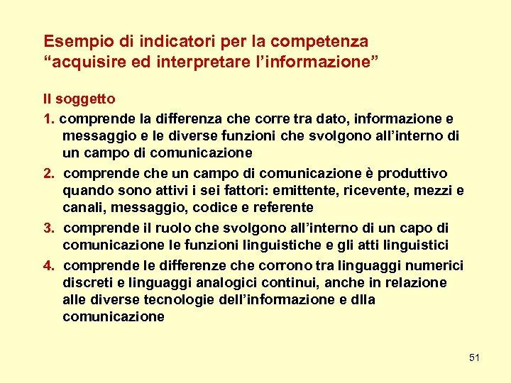 """Esempio di indicatori per la competenza """"acquisire ed interpretare l'informazione"""" Il soggetto 1. comprende"""
